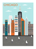 Cidade estilizado de Chicago Imagens de Stock Royalty Free