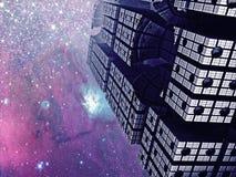 Cidade estrangeira sob o céu de Utraviolet