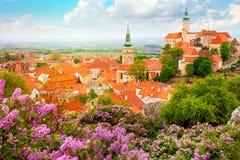 Cidade europeia histórica velha com castelo, pulso de disparo e flores fotos de stock