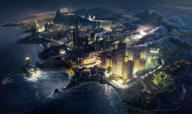 Cidade fantástica Imagens de Stock Royalty Free