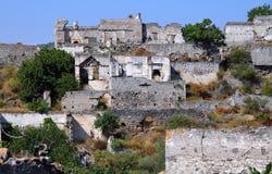 Cidade fantasma de Kayakoy & de x28; Turkey& x29; Imagem de Stock Royalty Free