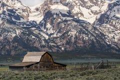 Cidade fantasma ocidental velha da paisagem grande da montanha do celeiro do moulton dos tetons Fotografia de Stock Royalty Free