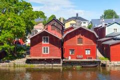 Cidade finlandesa histórica Porvoo, casas vermelhas Fotografia de Stock Royalty Free