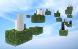 Cidade futura do céu no céu Imagem de Stock
