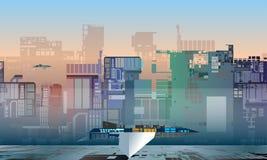 Cidade futura industrial colorida da ficção científica com nave espacial, ilustração ilustração royalty free