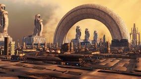 Cidade futurista Fotos de Stock Royalty Free