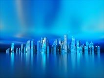 Cidade futurista da noite do panorama A iluminação de néon fotos de stock royalty free