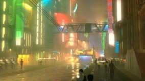 Cidade futurista de Sci fi na noite com tráfego e povos de cidade aéreo filme