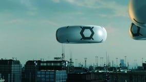 Cidade futurista e UFOS ilustração stock