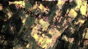 Cidade geométrica vibrante do sumário com vídeo digital de incandescência da luz da natureza do fundo das luzes do fractal video estoque