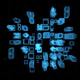 Cidade grande (azul do raio X 3D) ilustração do vetor