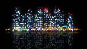 Cidade grande da noite fora de foco Fotografia de Stock Royalty Free
