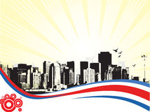 Cidade grande - Grunge denominou o fundo urbano. Vetor Fotos de Stock Royalty Free
