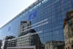 Cidade histórica de Bruxelas e cidade parlamentar europeia fotografia de stock royalty free