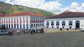 Cidade histórica de Ouro Preto, Minas Gerais, Brasil, o 25 de março de 2016, feriado católico da Páscoa sexta-feira Fotografia de Stock Royalty Free