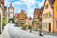 Cidade histórica do der Tauber do ob de Rothenburg, Baviera, Alemanha Imagem de Stock Royalty Free