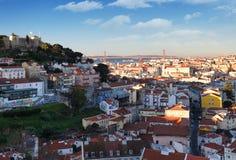 Cidade histórica no por do sol, Portugal de Lisboa Fotografia de Stock