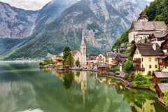 Cidade icónica de Hallstatt Áustria Imagem de Stock