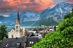 Cidade icónica de Hallstatt Áustria Imagens de Stock
