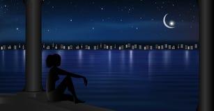 A cidade ilumina a reflexão no céu estrelado da paisagem da cena da noite da água com a lua que faz uma silhueta da menina do des ilustração do vetor