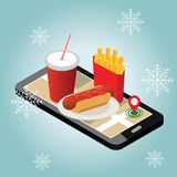 Cidade isométrica Fornecimento do fast food do inverno Restaurante do fast food Dia de inverno da neve Pesquisa móvel Seguimento  Imagens de Stock Royalty Free