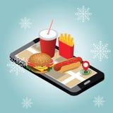 Cidade isométrica Fornecimento do fast food do inverno Restaurante do fast food Dia de inverno da neve Pesquisa móvel Seguimento  ilustração stock