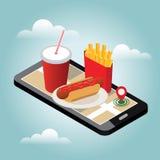 Cidade isométrica Fornecimento do fast food do inverno Restaurante do fast food Dia de inverno da neve Pesquisa móvel Seguimento  ilustração royalty free