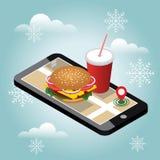 Cidade isométrica Fornecimento do fast food do Natal e do ano novo Restaurante do fast food Dia de inverno da neve Pesquisa móvel ilustração royalty free