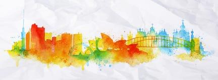 Cidade Kiev da folha de prova da silhueta, Sydney ilustração stock