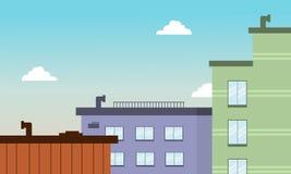 Cidade lisa da construção do oof do estilo dos desenhos animados Fotografia de Stock Royalty Free