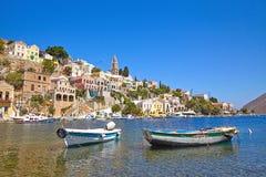 Cidade litoral bonita da ilha de Symi Fotos de Stock