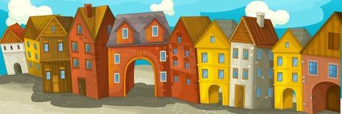 Cidade medieval feliz dos desenhos animados ilustração royalty free