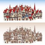 Cidade medieval mágica Fotos de Stock Royalty Free