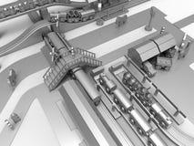 Cidade metálica pequena 3D do brinquedo para render ilustração do vetor