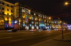 Cidade Minsk da noite Fotos de Stock Royalty Free