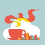 Cidade moderna da ilustração lisa do estilo com xícara de café e nuvem Ilustração Royalty Free