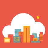 Cidade moderna da ilustração lisa do estilo na nuvem Ilustração do Vetor