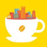 Cidade moderna da ilustração lisa do estilo na xícara de café Ilustração Royalty Free