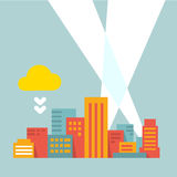 Cidade moderna da ilustração lisa do estilo nos raios de luz brilhantes Ilustração do Vetor