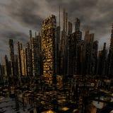 Cidade moderna da noite Fotos de Stock Royalty Free