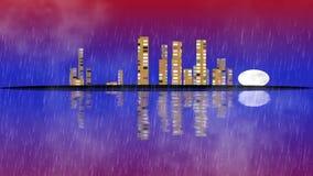 Cidade moderna da noite no clima de tempestade ilustração do vetor