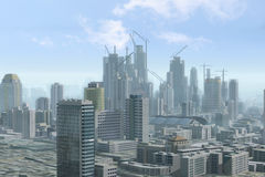 Cidade moderna sob a construção Fotografia de Stock