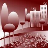 Cidade monocromática ilustração do vetor