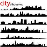 A cidade mostra em silhueta o vetor Fotografia de Stock Royalty Free