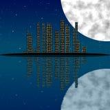 Cidade na noite, com lua, estrelas e reflexão na água ilustração stock