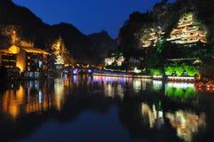 Cidade na noite de Zhenyuan Fotografia de Stock