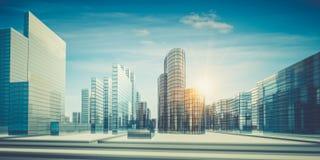 Cidade na rendição das nuvens 3d Imagens de Stock