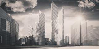 Cidade na rendição das nuvens 3d Fotografia de Stock Royalty Free