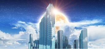 Cidade na rendição das nuvens 3d Ilustração Royalty Free