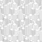 Cidade na vista isométrica Teste padrão sem emenda com casas Fotos de Stock Royalty Free